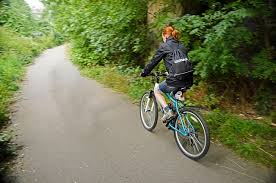 Woman mountain biking in forest on road