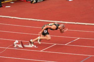 Intense training Olympic runner